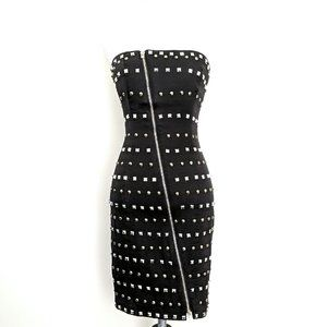 NWT Bebe Black Corset Embellished Strapless Dress